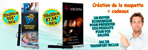 Roll up publicitaire sur mesure de 85 ou 100 cm de large.